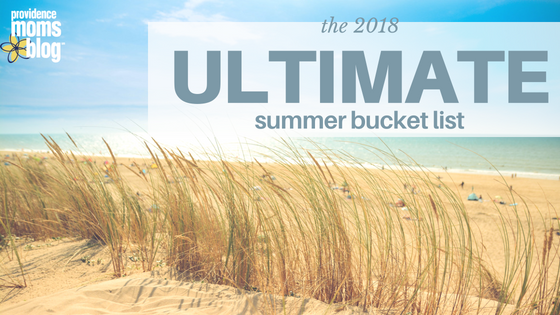 "Beach grass with ocean in the background on graphic that says ""the 2018 Ultimate summer bucket list Providence Moms Blog"""