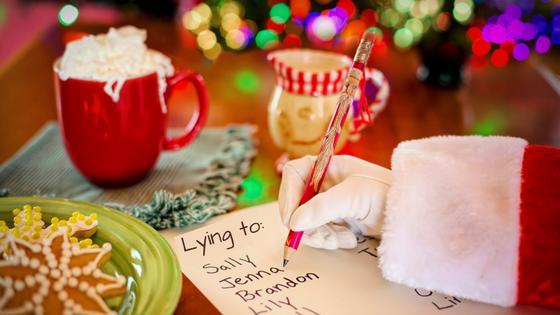 Fat man red suit lying Santa Claus Providence Moms Blog