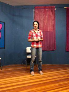 Comedian Melissa Bowler performing Providence Moms Blog