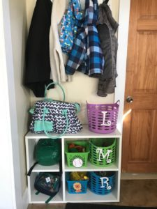 front entryway organizational system for children Providence Moms Blog