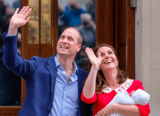 Will and Kate with newborn son on hospital steps Providence Moms Blog