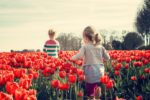 girls walking in a field of red tulips in springtime Providence Moms Blog
