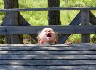 toddler screaming next to bridge Providence Moms Blog
