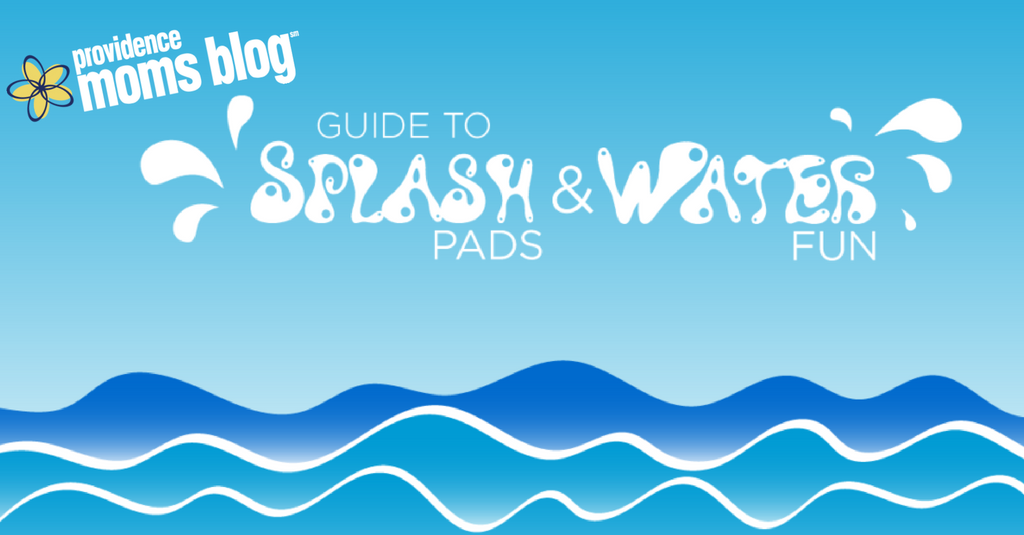 "Splashpad guide graphic - Blue background, illustrated waves with ""Providence Moms Blog Guide to Splash Pads & Water Fun"" written"