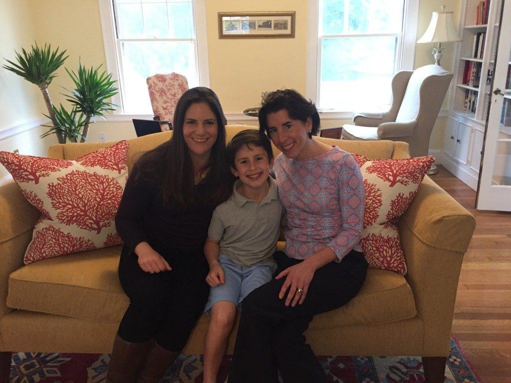 Lindsey Galvao, Tommy Moffit, and Governor Gina Raimondo Providence Moms Blog