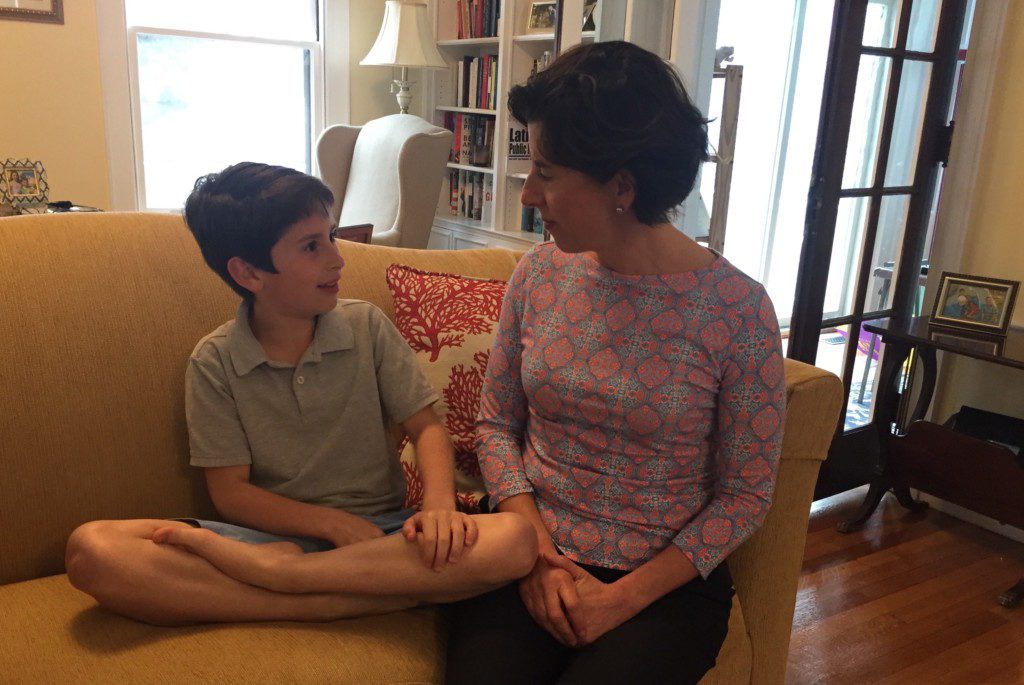 Tommy Moffit with his mother, Governor Gina Raimondo Providence Moms Blog