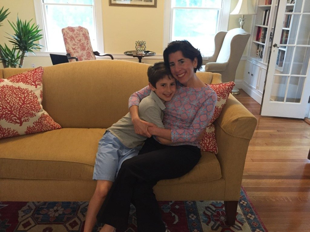 Tommy Moffit and his mother, Governor Gina Raimondo