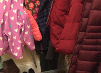coats and shoes by front entryway Providence Moms Blog