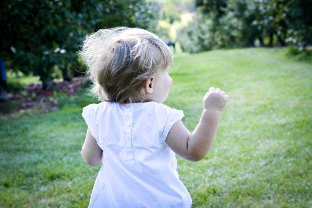 toddler walking on grass Providence Moms Blog