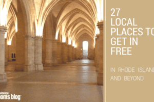 "Long hall of stone archways with ""27 Local Places to Get in Free in Rhode Island and Beyond"" written"