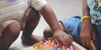 two children with chalk Providence Moms Blog