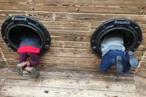 two kids playing on ship Providence Moms Blog
