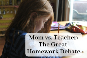 Child sitting at table with a pencil. Text over picture Mom vs. Teacher: The Great Homework Debate. Post about if children should do homework in Providence Moms Blog
