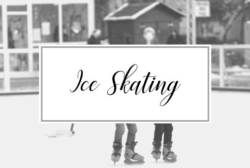 Picture of snowy background with the words Ice Skating over a picture of a person holding ice skates. Activities and things to do in Providence Rhode Island in the Winter