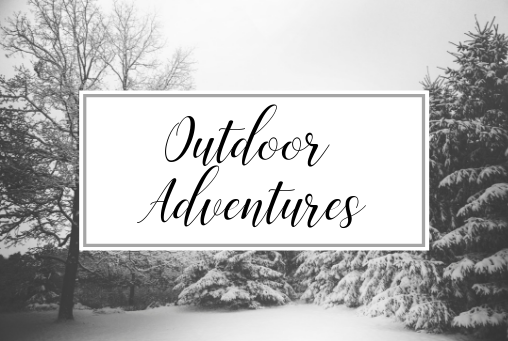 Picture of snowy background with the words Outdoor Advenures over a picture of a person holding ice skates. Activities and things to do in Providence Rhode Island in the Winter