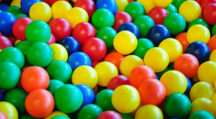 Colorful plastic balls in post on Indoor Play in Rhode Island