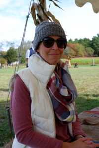 woman wearing red sweatshirt and white vest | week without leggings | providence mom