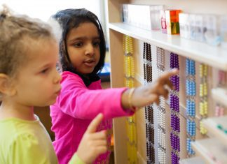 student at Ocean State Montessori School