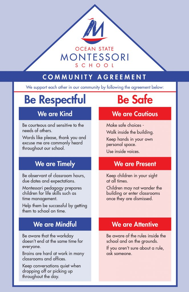 Community Agreement Poster from Ocean State Montessori School