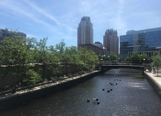 River running by a city